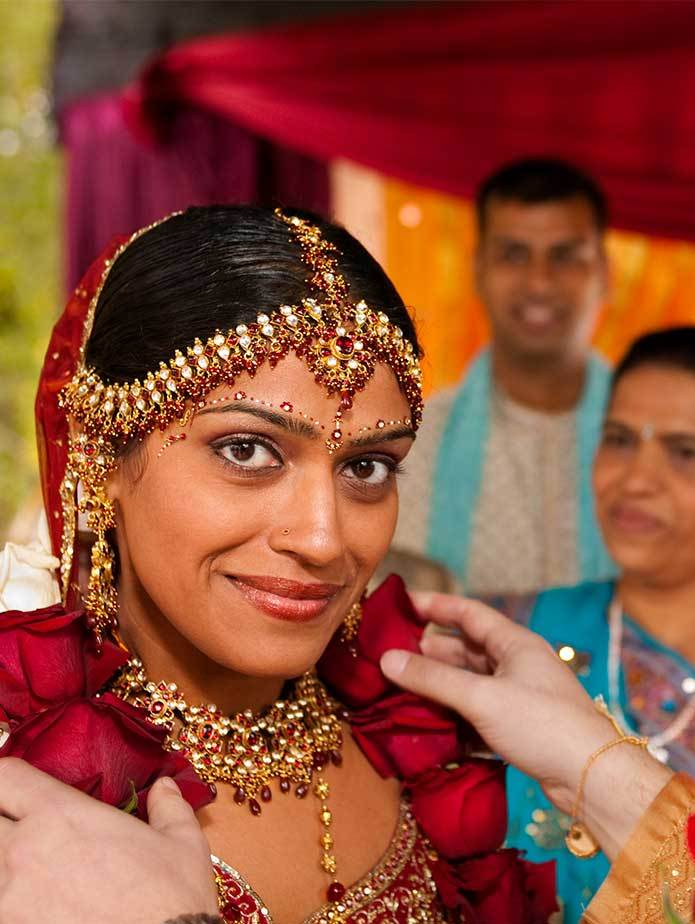 NYC south Asian wedding photographer closeup of Bride